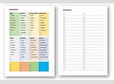 Einkaufsliste Vorlage Einkaufszettel als Word & PDF