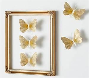 Gold feather butterflies set pottery barn kids