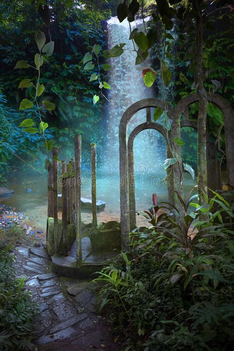 jungle archway fantasy background stock photo image
