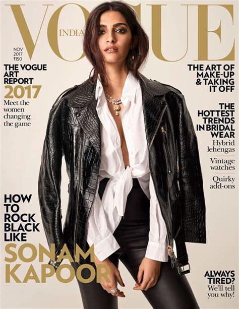 latest vogue cover sonam kapoor rocks a leather jacket on vogue india s