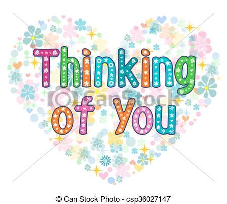Thinking Of You Clipart Thinking Of You Typography Lettering Card Stock Vector