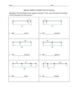 Segment Addition Postulate Color By Number By Awesome Things By Dr James
