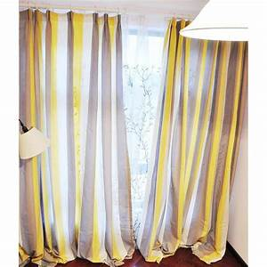 Yellow And Coffee Striped Linen Brief Blackout Curtains