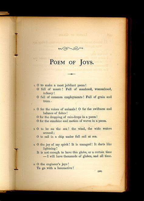 poem  joys leaves  grass   walt whitman archive