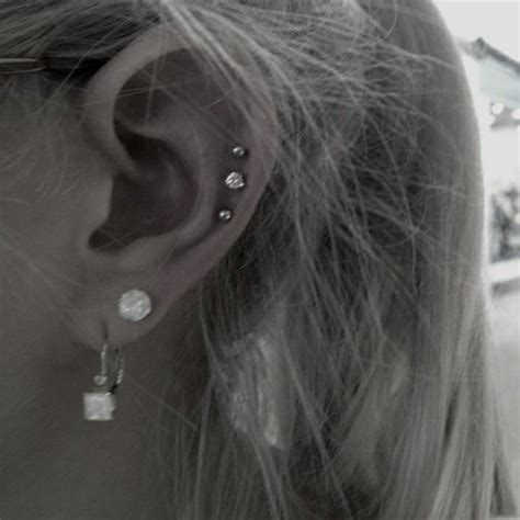 ideas  triple lobe piercing  pinterest
