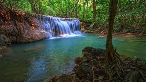wonderful tropical waterfall  jungle pool  turquoise
