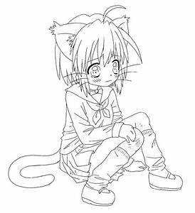 Anime Cat Girl Coloring Pages - Coloring Home