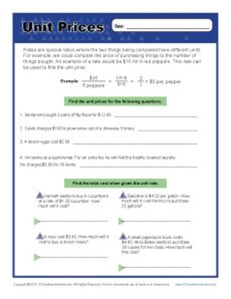 find the unit prices 6th grade ratio worksheets