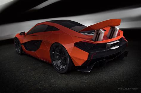 mclaren p visual spicer supercar papercraft  les voitures