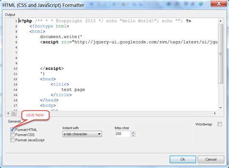 php html code formatting  phpdesigner ide version