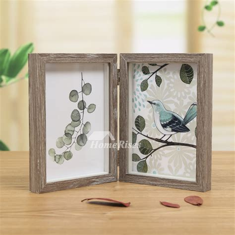 folding rustic wood double picture frame xx blue