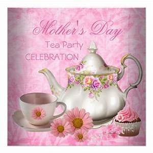"Mother's Day White Pink floral Tea Cupcake 5.25"" Square ..."