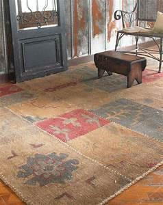 tapis patchwork vintage et tapis cuir en 50 idees tendance With tapis de couloir avec canapé d angle destockage