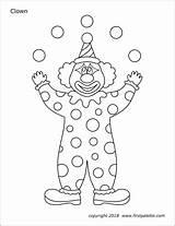 Printable Clown Clowns Coloring Templates Circus Juggling Template Carnival Printables Juggler Crafts Kindergarten Tent Firstpalette Preschool Activities Shapes Themed sketch template