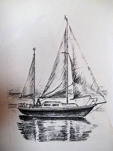 """A Pencil Drawing of My Yacht - S/Y Magali"" by Dennis"