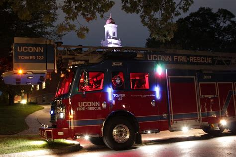 campus safety enhanced   fire ladder truck uconn
