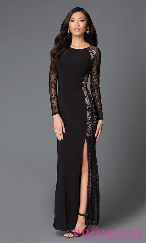 black long sleeve floor length lace dress   prom