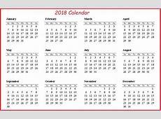 Printable 2018 Calendar On One Page – 2018 Calendar Template