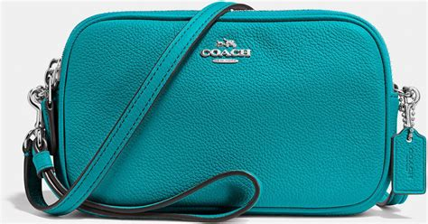 Coach Crossbody Clutch In Pebble Leather In Blue