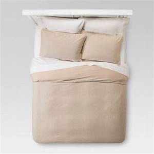 Coer Page Natural Washed Linen Duvet Cover Set Full Queen