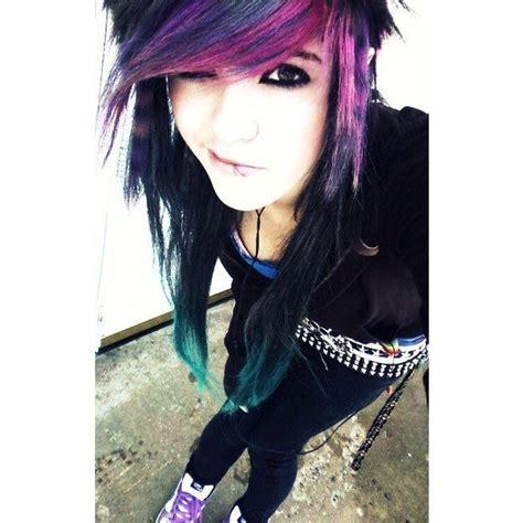 Black Purple And Teal Hair Dark Eye Make Up Piercings