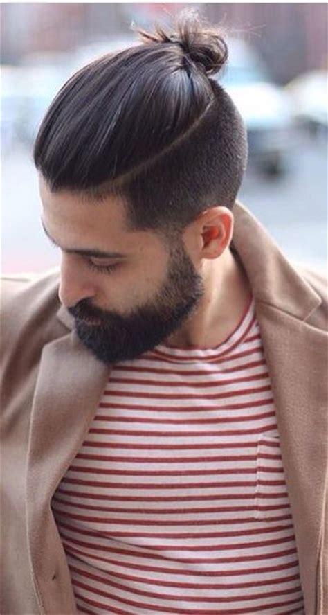 mens long top knot haircuts pinterest beards long