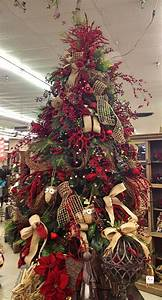 Country, Style, Christmas, Tree, Decorated, With, Burlap, Ribbon