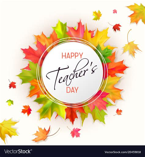 teachers day card  leaves royalty  vector image