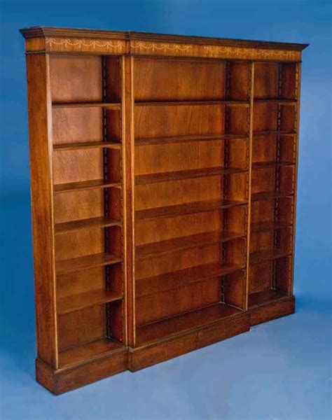 English Mahogany Triple Breakfront Bookcase For Sale