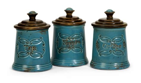 Kitchen Canisters Set by Set Of 3 Vintage Style Coffee Flour And Sugar Glass
