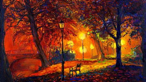 These autumn wallpapers will bring the outside in with colorful images of fall leaves, playful squirrels, round pumpkins, and babbling brooks. Wallpaper : trees, painting, fall, leaves, digital art, nature, park, artwork, bench, lamp ...