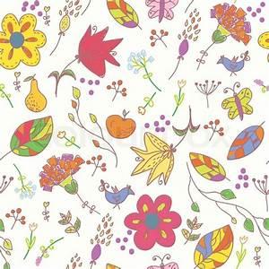 floral pastell nahtlose tapete mit vogel vektorgrafik With balkon teppich mit tapete pastell