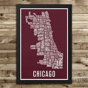 chicago neighborhood map print chicago wall art chicago With chicago wall art
