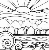 Sunset Coloring Drawing Landscape Sunsets Sun Line Printable Waves Robin Flowers Mead Adults Drawings Sketch Adult Getdrawings Getcolorings Clipartmag Printables sketch template