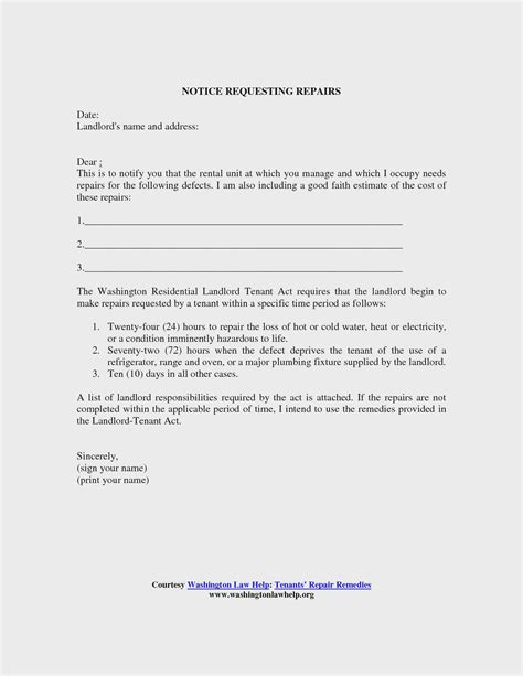 Letter To Landlord Requesting Repairs Template Collection