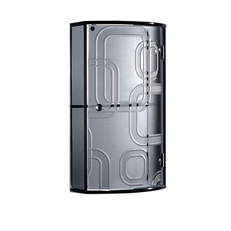 Bathroom Wall Mounted Black Crystal Glass Cabinet with Single