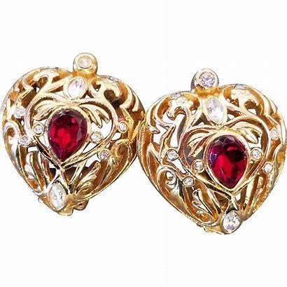 Dior Ruby Earrings Clip Christian Diamante Heart