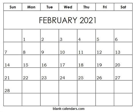 editable feb  template  blank printable calendar