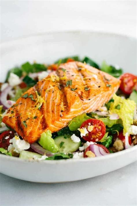 salmon greek salad  lemon basil dressing jessica gavin