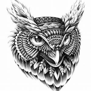 Ornate Owl Head Wood Print