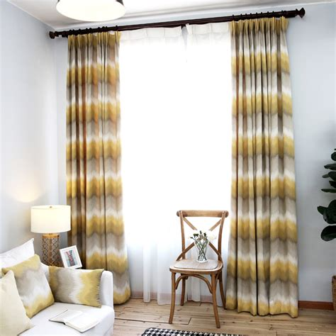 yellow and grey ombre chevron jacquard poly cotton blend curtain ideas