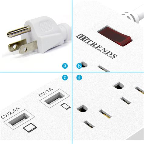 extension multiplug usb strip ports cord power computer outlets charging protector surge multiple 13a 1625w 6ft smartphone devices tablet laptop