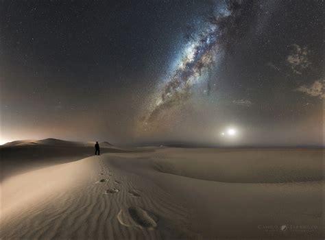 Milky Way Over The Desert Wallpaper Background Image