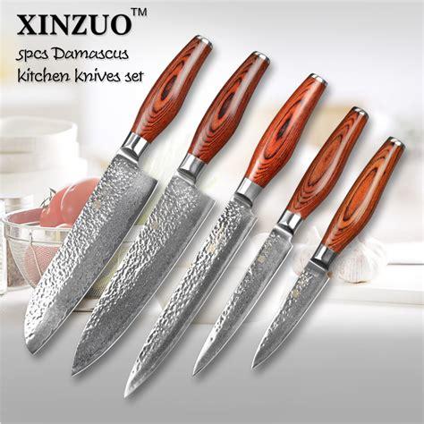 japanese kitchen knives set aliexpress com buy 5 pcs kitchen knives set japanese vg10 damascus steel kitchen knife set