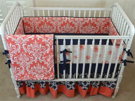Coral And Navy Crib Bedding by Crib Bedding Setbaby Beddingcrib Beddingcrib Set