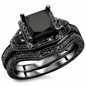 black diamond 925 sterling silver engagement ring set With wedding ring sets with black diamonds