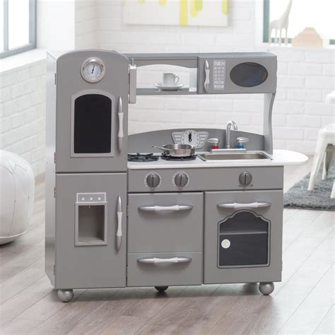 Hello Classic Kitchen Play Set by Classic Playtime Gray Wooden Retro Kitchen Set Play