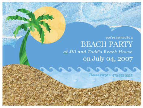 beach party invitation template word templates