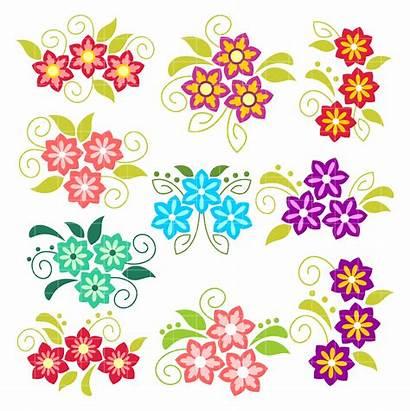 Clip Flowers Pretty Clipart Arts Digitizing Semi