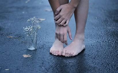 Feet Barefoot Wallpapers Street Flower Hands Asphalt